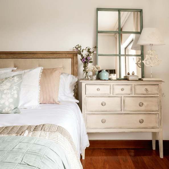 shabby chic dresser used as a nightstand