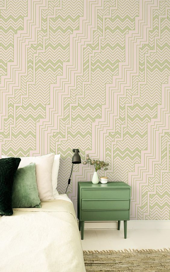beautiful green geometric retro wallpaper