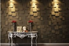 17 dark-colored 3D wall panels with an abstract look