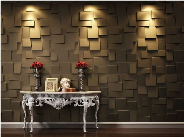 dark-colored 3D wall panels with an abstract look