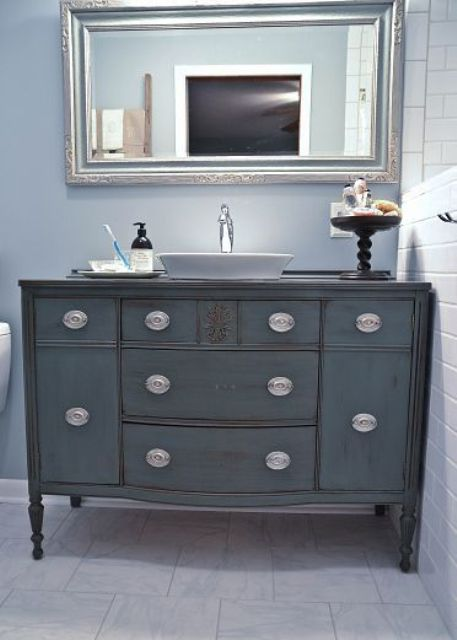 vintage blue-grey color bathroom vanity with eye-catchy knobs