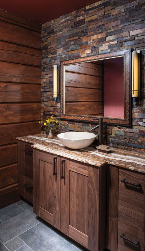 Rustic Double Bathroom Vanity With Drawers. Wooden Vanity In Warm Hues With  A Stone Countertop