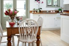 18 rustic kitchen and diner with a vintage dining table and chairs