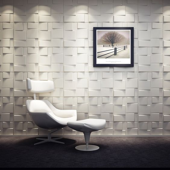 squared 3D wall tiles for a living room or an eye-catchy entryway