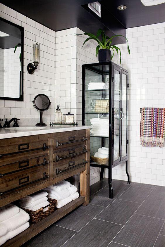 Rustic Reclaimed Wood Bathroom Vanity With Metal Handles And An Open Shelf