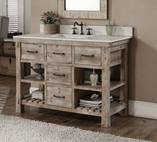 whitewashed reclaimed wood vanity with drawers and shelves and a white  counter - 34 Rustic Bathroom Vanities And Cabinets For A Cozy Touch - DigsDigs