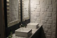 19 your powder room may be more eye-catching with a single 3D wall