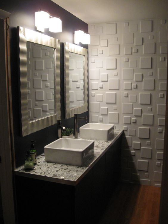 your powder room may be more eye-catching with a single 3D wall