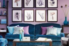 20 lavender as a dominant color, teal upholstery and accessories