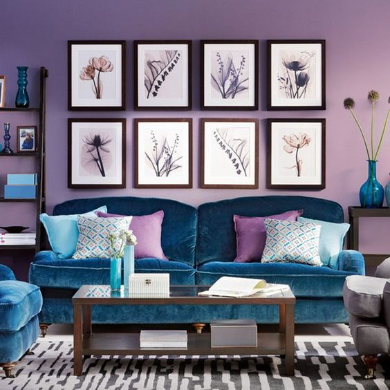 lavender as a dominant color, teal upholstery and accessories