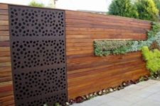 20 modern wooden fence with a succulent part will become a cool decor feature
