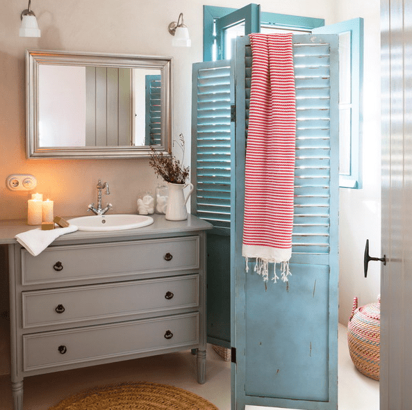 neutral-colored dresser turned into a bathroom vanity