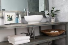 20 simple open vanity shelving system with a small vessel sink