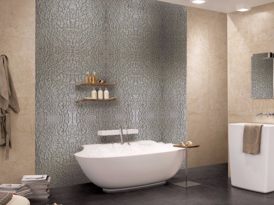 stunning silver metal wall cover for a bathroom instead of traditional tiles