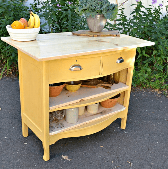 bold dresser repurposed into an outdoor kitchen island