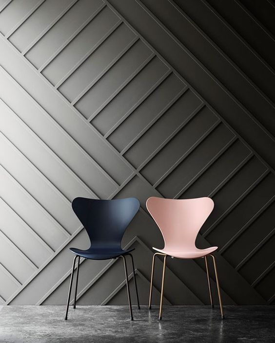 chic sculptural wall covering with a geometric design