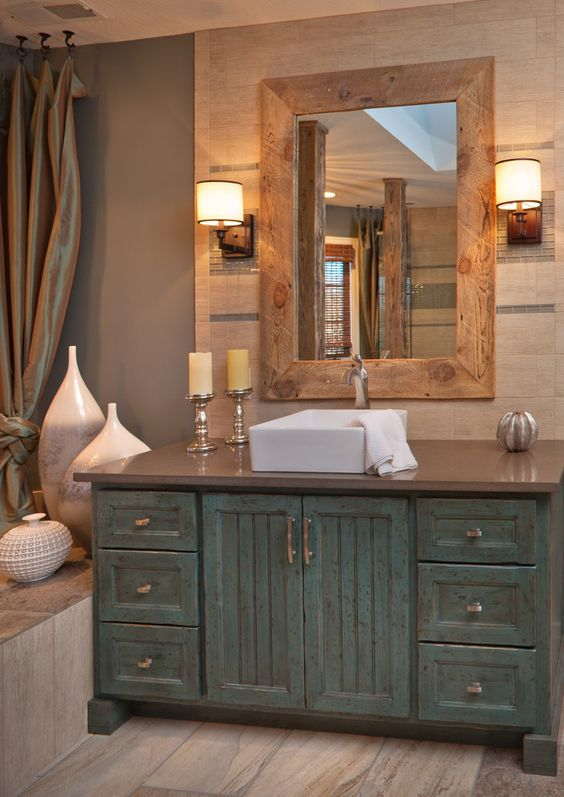 rustic shabby chic patina bathroom vanity with a dark counter