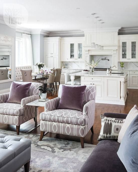 all white kitchen and a purple family room  look so airy inviting 30 Spacious And Airy Open Plan Kitchen Ideas DigsDigs