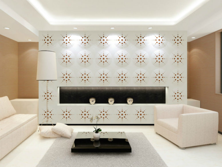 dimensional and colorful perforated wall coverings to accentuate the space