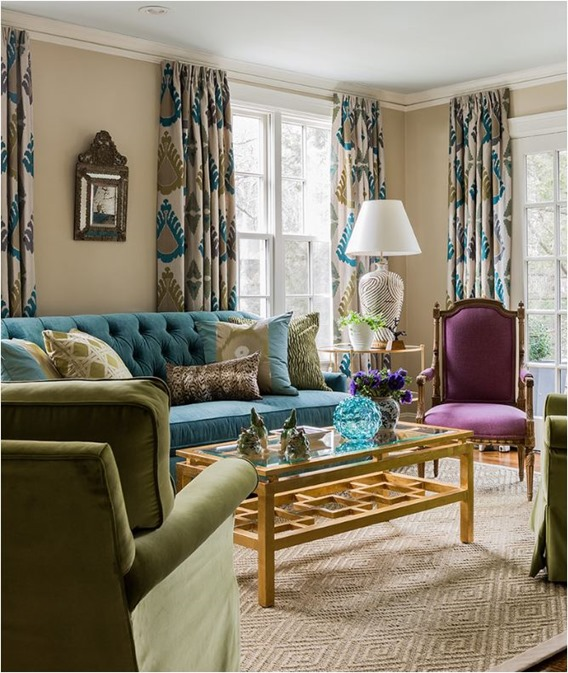 just some blue and purple touches for a neutral space