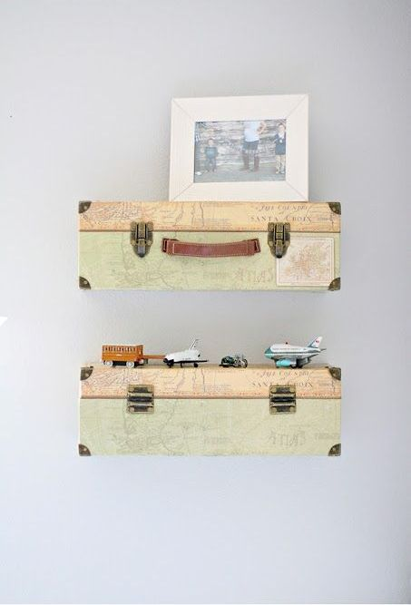 suitcase bookshelves will be great for any room, and you can add your travel photos there