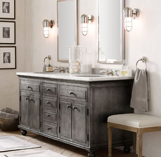 Industrial Vanity: 32 Trendy And Chic Industrial Bathroom Vanity Ideas