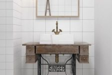 23 Singer sewing machine stand as bathroom sink basin is a unique and eye-catchy idea