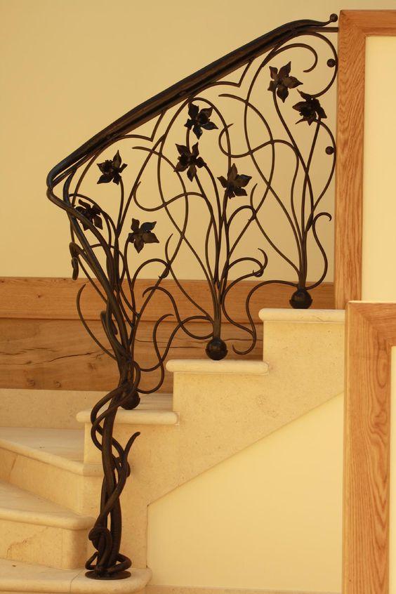 art nouveau worught iron railing looks just stunning