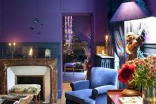 23 boho chic room with bold violet and blue, lots of patterns and textures