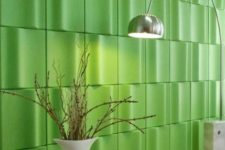 23 bold green 3D panels will make a statement not only with their look but also with their color