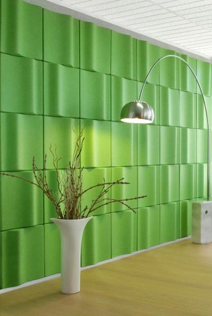 bold green 3D panels will make a statement not only with their look but also with their color