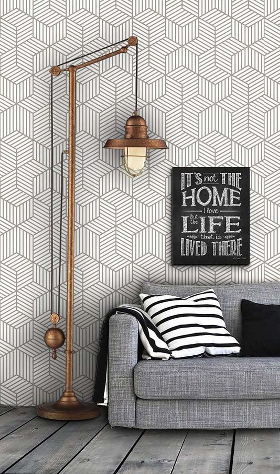 grey geometric wallpaper will be great for a modern or industrial living room