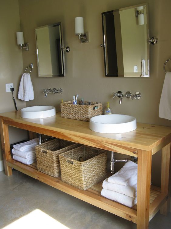 Light Colored Open Double Wooden Vanity 34 Rustic Bathroom Vanities And Cabinets For A Cozy Touch  DigsDigs