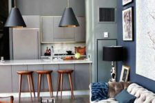23 modern grey kitchen and a living room in greys, taupe and blues look edgy