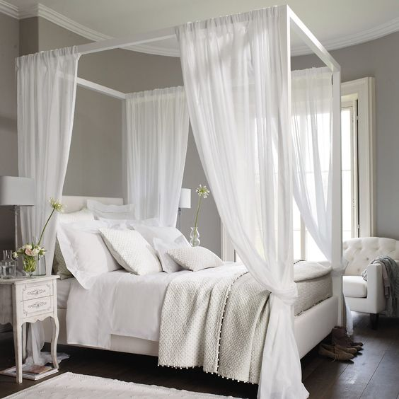 Double Bed White Canopy