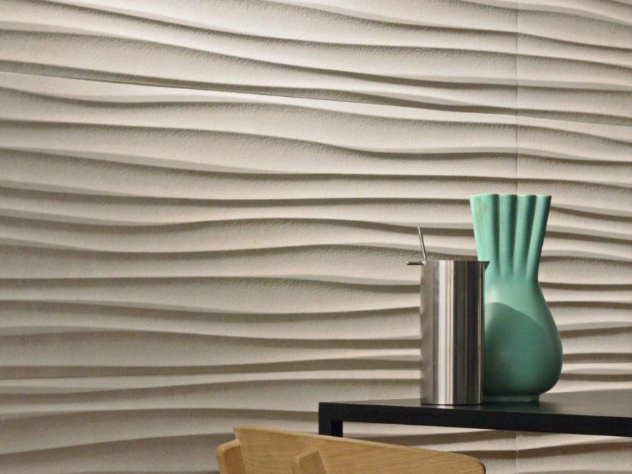 dimensional wall coverings will make even a simple interior stand out