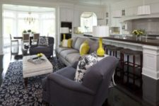 24 farmhouse-style kitchen and living room with neon accents