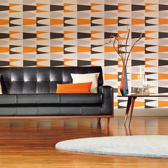 grey, orange, black and white geometric wallpaper just drives you crazy