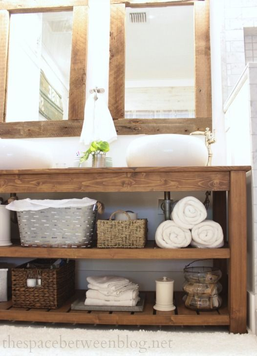 reclaimed wood bathroom vanity with open shelves