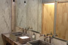 24 reclaimed wood countertop with concrete sinks and baskets