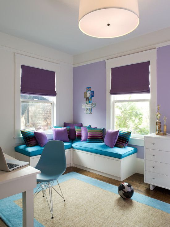 bold turquoise and purple boy's room decor with creamy shades
