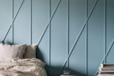 25 cool dusty blue wall panels with an abstract print