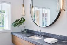 25 floating vanity with drawers, an open shelf and a soapstone top for a contrast