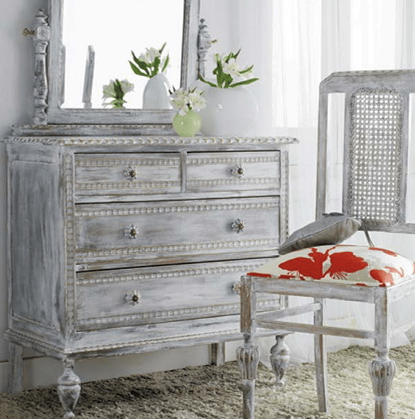 giving your dresser a shabby chic look is easy with whitewashing technique