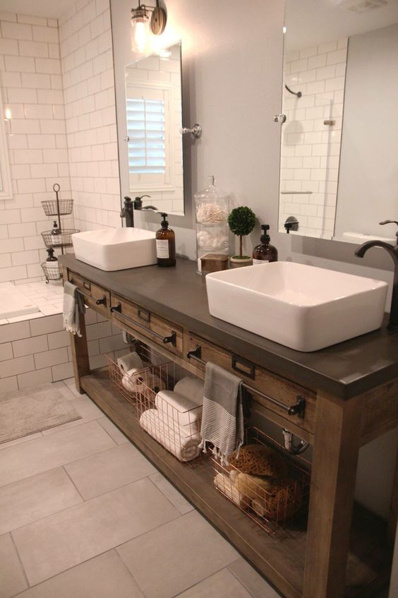 Reclaimed Wood Double Vanity With A Concrete Countertop For More Durability 34 Rustic Bathroom Vanities And Cabinets For A Cozy Touch  DigsDigs