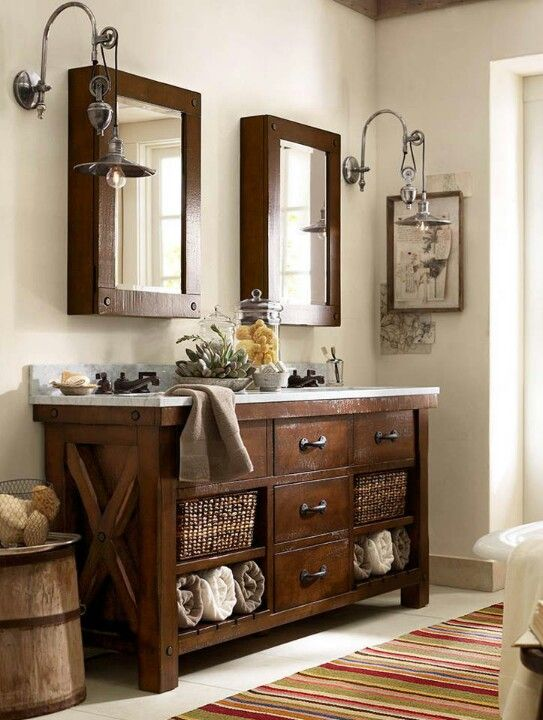 rustic industrial dark stained wood vanity with baskets and a contrasting top