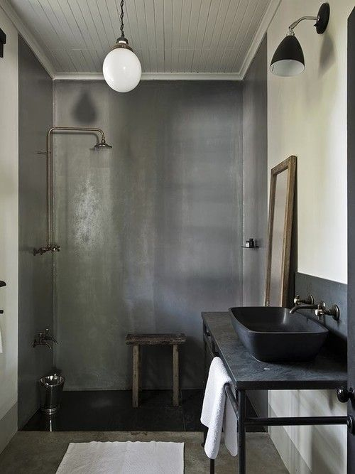 black metal bathroom vanity with pipes for hanging towels