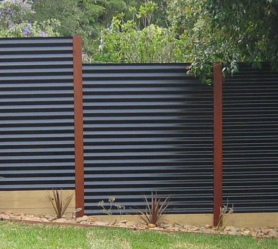 corrugated metal privacy fence is a very durable and modern option