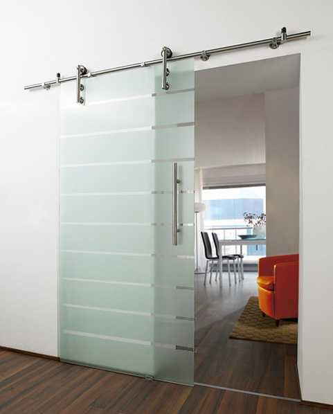Etheced Glass And Nickel Barn Door For A Modern Home