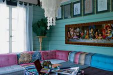 26 large boho chic living room with turquoise walls and colorful upholstery